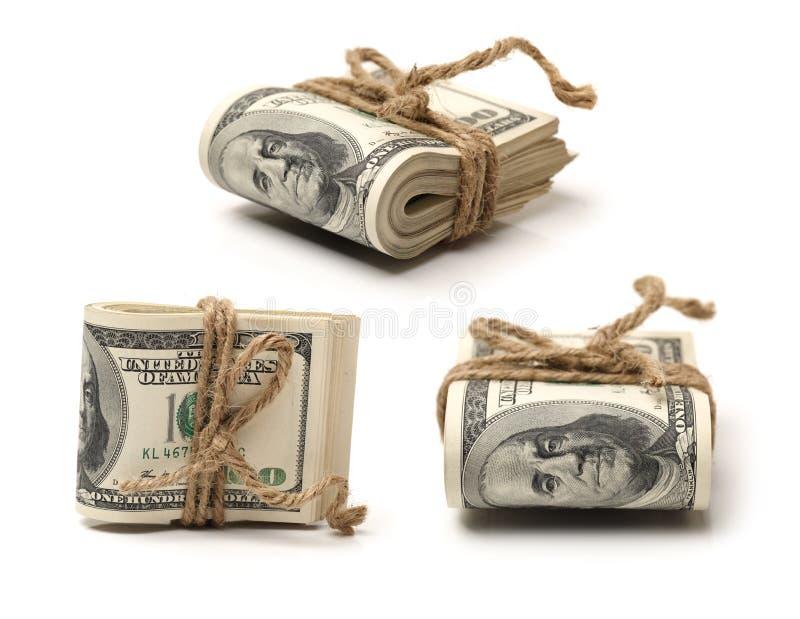 Cento banconote in dollari acciambellate immagine stock