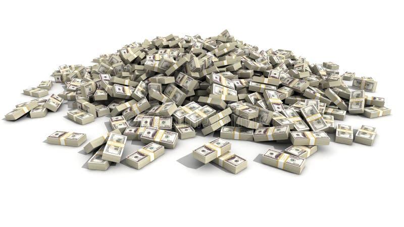 Cento dollari Bill Bundles in un mucchio fotografia stock