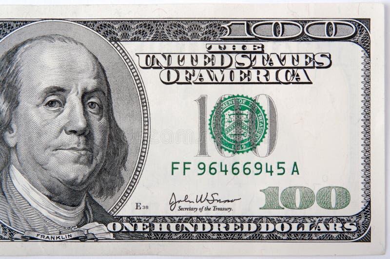 Cento dollari Bill mezzo immagini stock libere da diritti