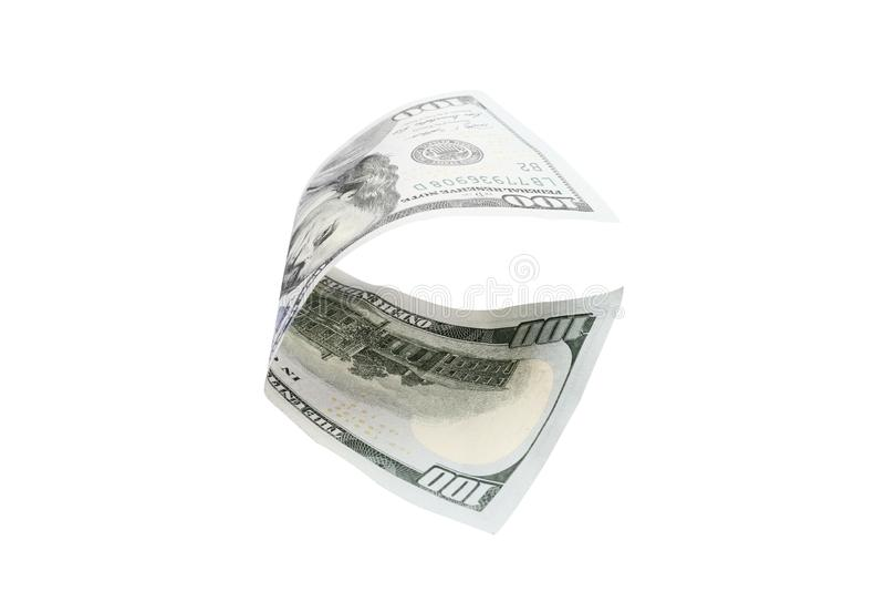Cento dollari isolati su priorità bassa bianca fotografia stock libera da diritti