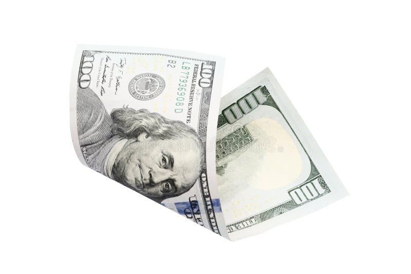 Cento dollari isolati su priorità bassa bianca fotografie stock libere da diritti