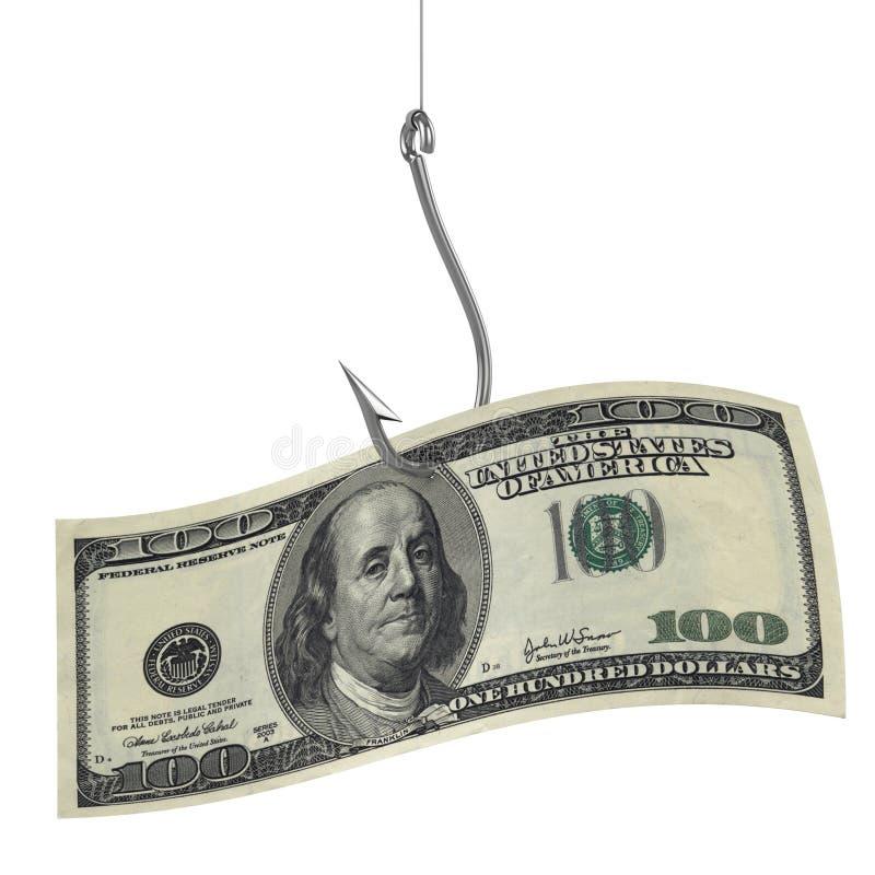 Cento dollari sull'amo di pesca royalty illustrazione gratis