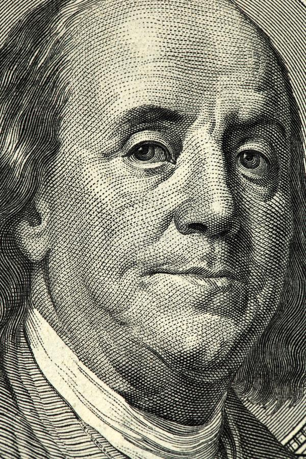 Cento facciate frontali delle banconote in dollari fondo dei dollari, nuovo facel del bil del cento-dollaro, l'evoluzione della f immagini stock
