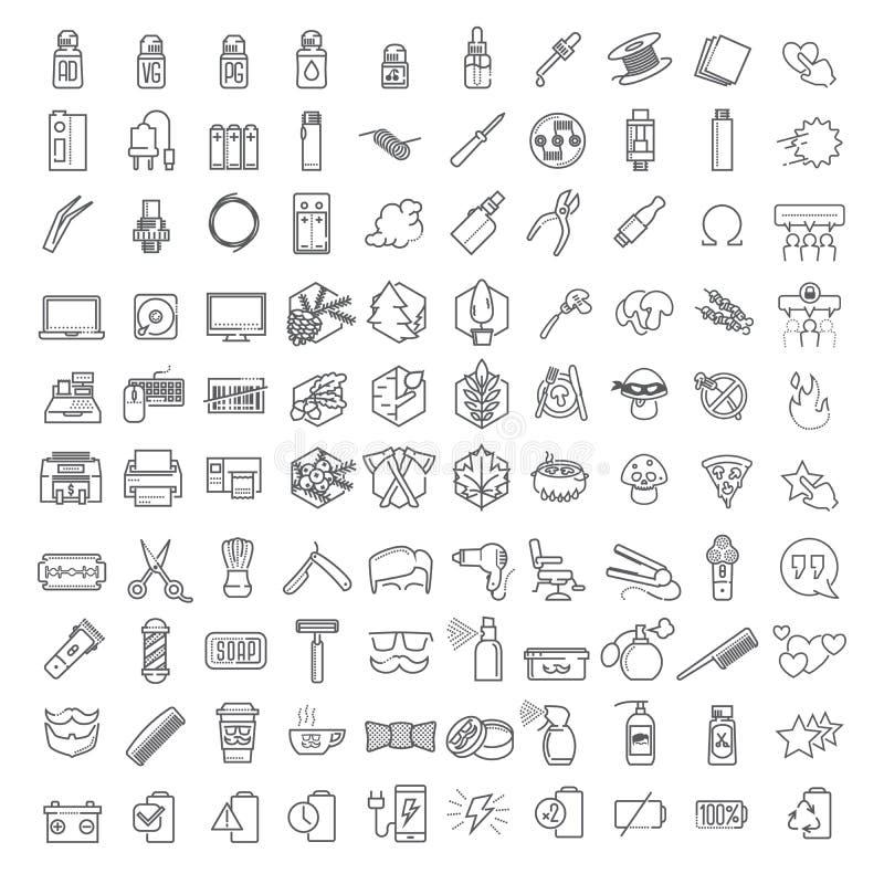 Cento linee sottili icone di vettore hanno messo per il infographics ed il corredo di UX UI Contiene il negozio, la tecnologia &  illustrazione vettoriale