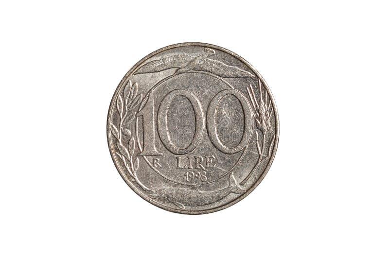 Cento monete della Lira italiana fotografie stock libere da diritti