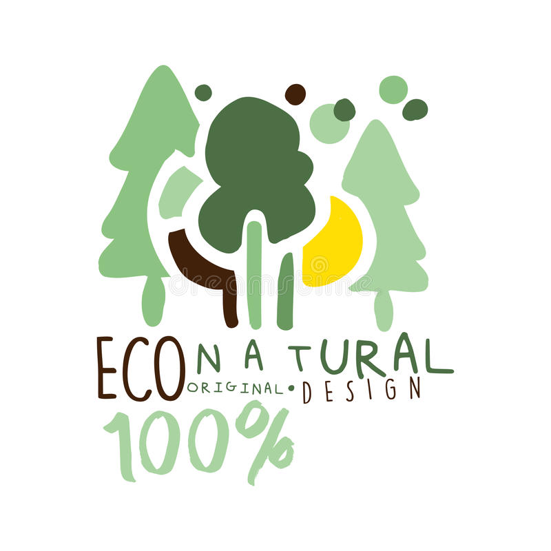 Cento per cento di progettazione originale dell'etichetta naturale, modello del grafico di logo Stile di vita sano, prodotti fatt illustrazione di stock