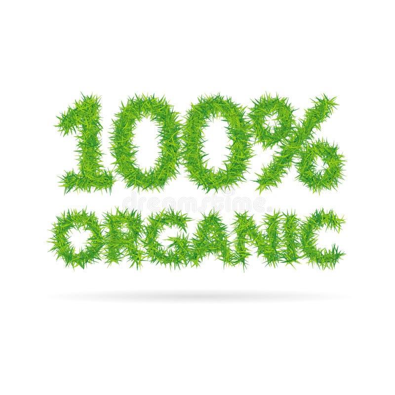 Cento per cento dell'iscrizione organica composta di erba verde royalty illustrazione gratis