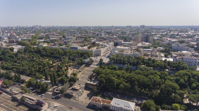 Centr Odessa aérea, Ucrania de la ciudad de la calle de Deribasivska fotos de archivo
