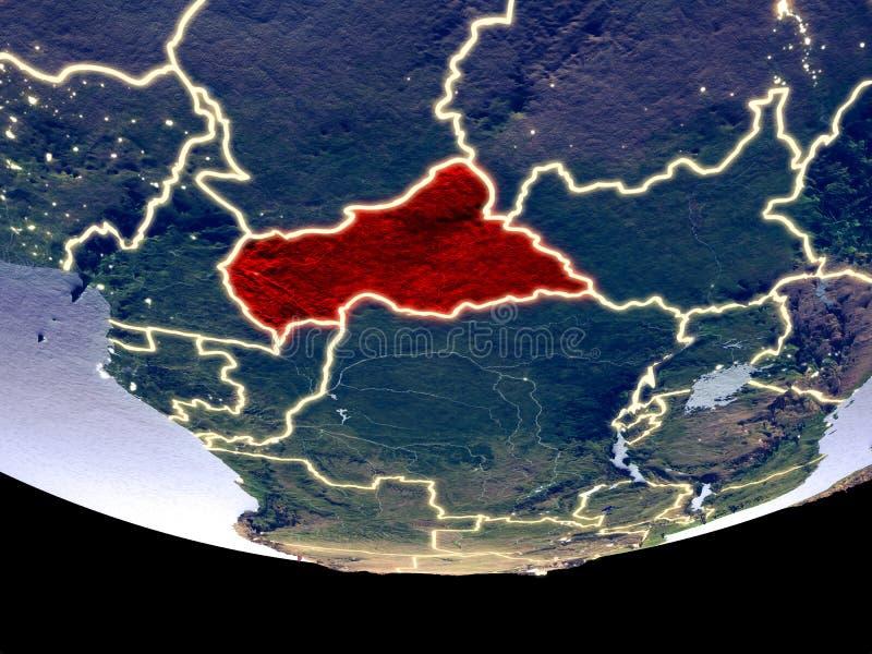 Centraal-Afrika bij nacht van ruimte stock afbeeldingen