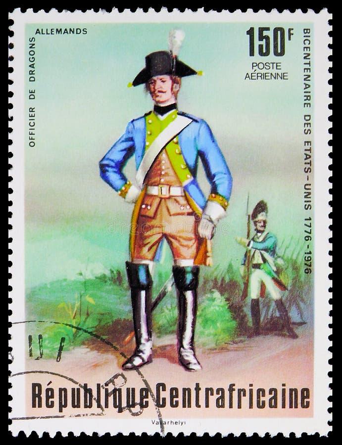 In Centraal-Afrika gedrukt postzegel toont de Duitse dragoon, tweehonderdste verjaardag van de onafhankelijkheid van de Amerikaan royalty-vrije stock foto's