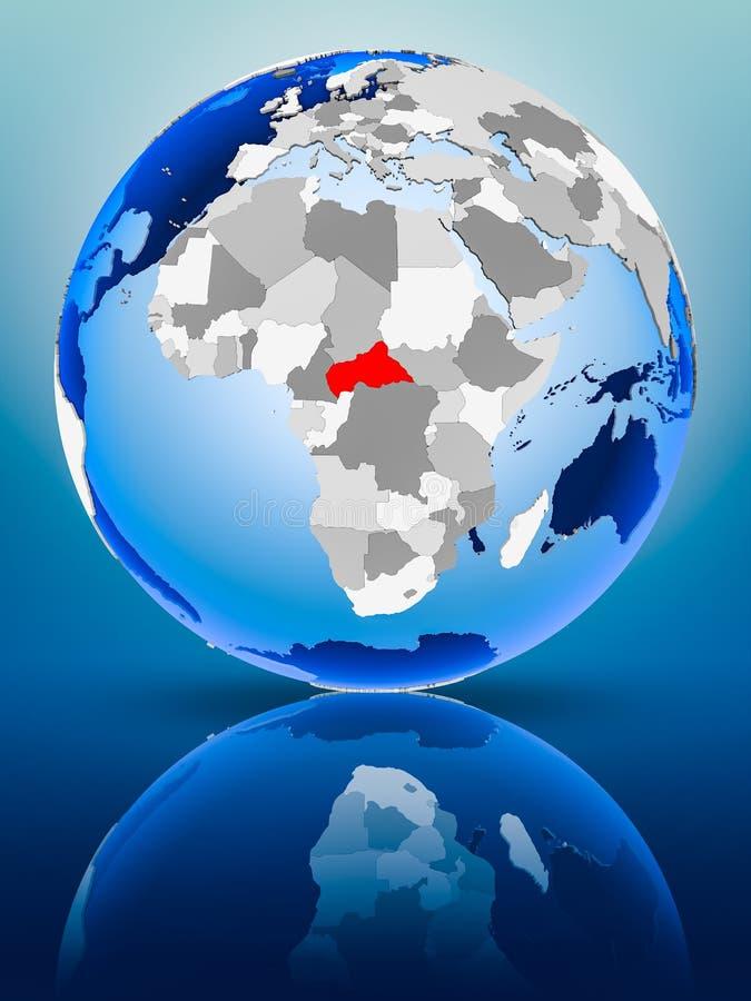 Centraal-Afrika op bol stock afbeeldingen