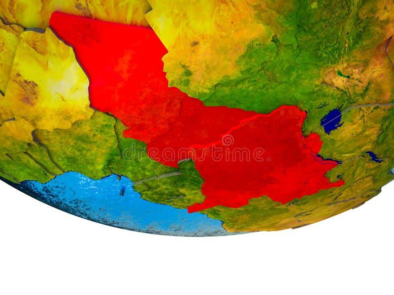 Centraal-Afrika op 3D Aarde royalty-vrije stock afbeelding