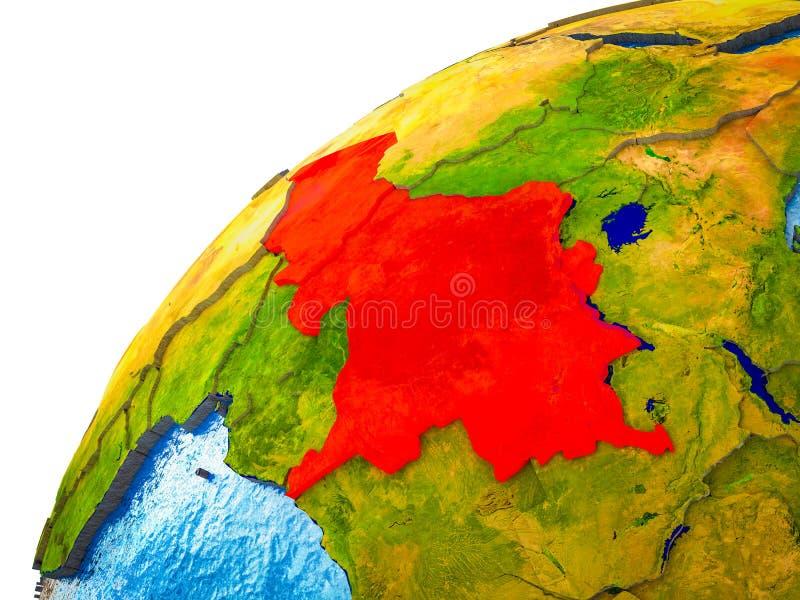 Centraal-Afrika op 3D Aarde stock foto