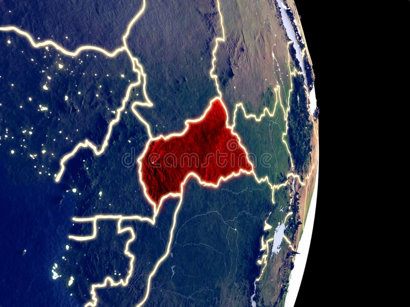 Centraal-Afrika op nachtaarde stock afbeelding
