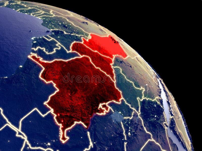 Centraal-Afrika van ruimte stock illustratie