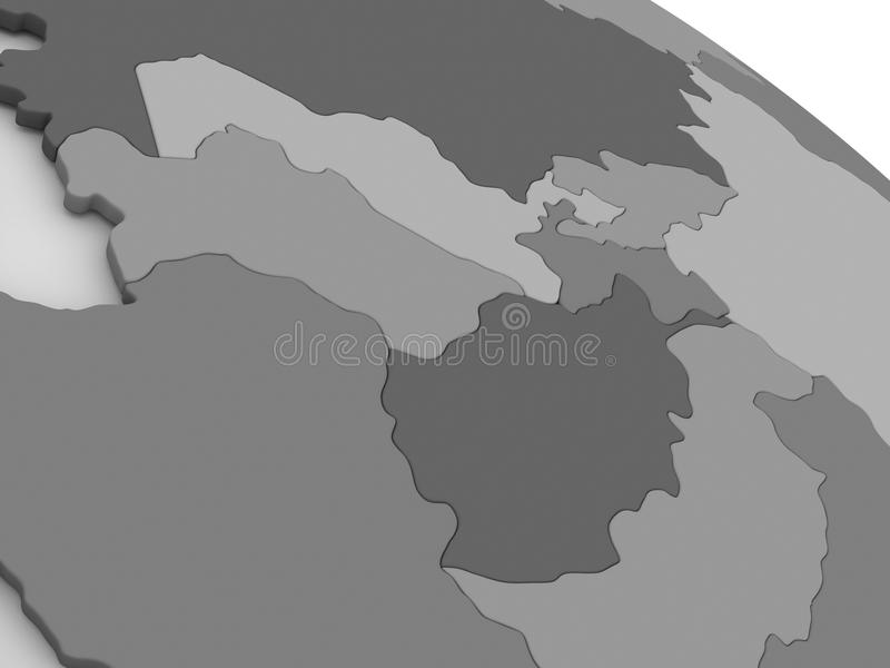 Centraal-Azië op grijze 3D kaart royalty-vrije illustratie