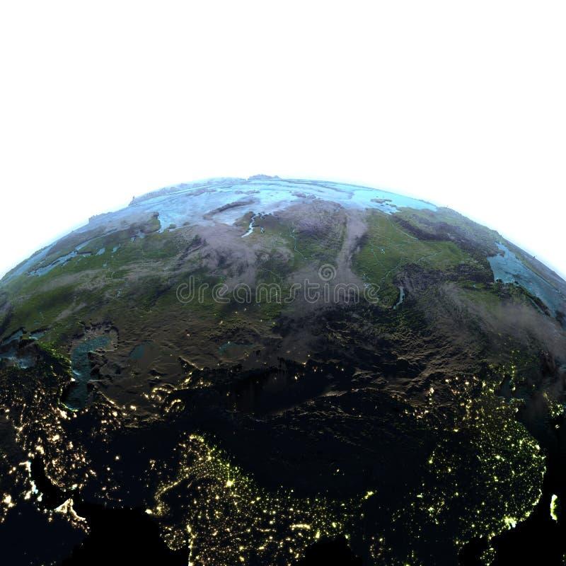 Centraal-Azië ter wereld bij schemer stock illustratie