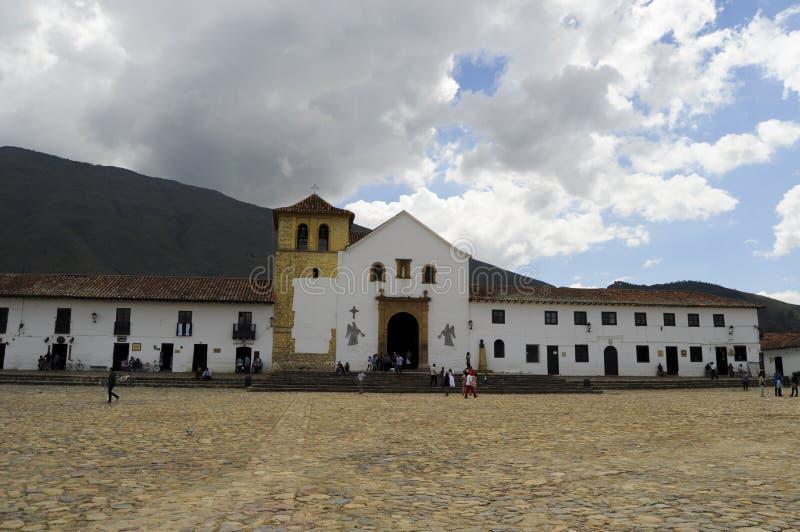 Centraal plein in villa DE leyva royalty-vrije stock afbeeldingen