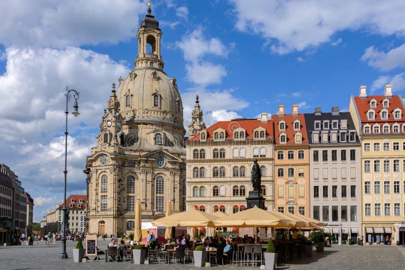 Centraal vierkant in Oude Stad van Dresden, Duitsland, Saksen royalty-vrije stock fotografie