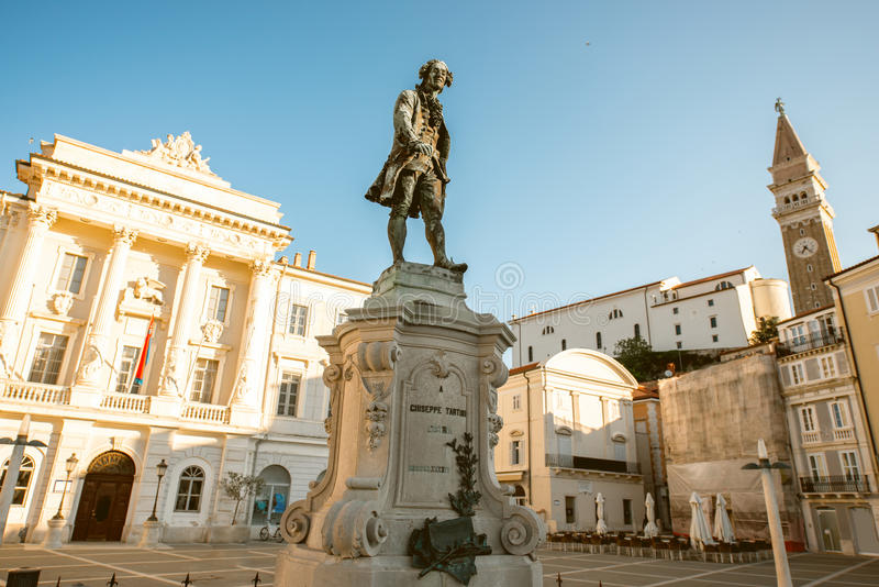 Centraal vierkant in Piran-stad royalty-vrije stock foto
