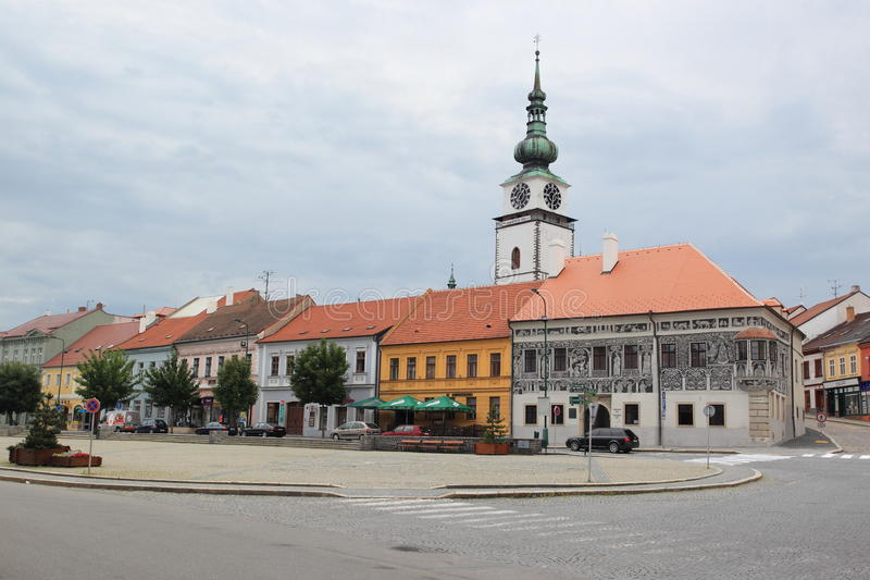 Centraal vierkant in Trebic stock foto's