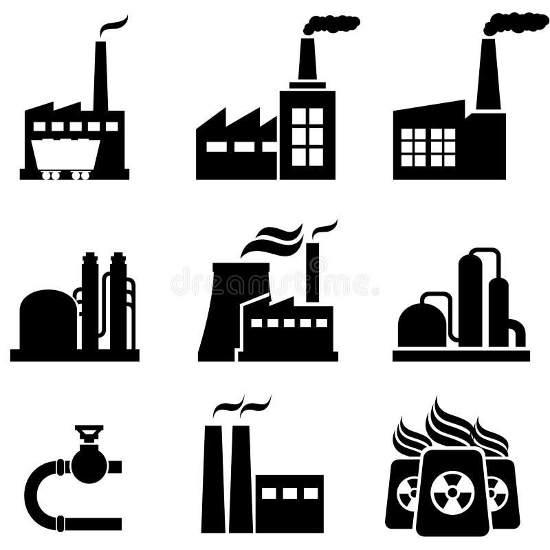 Centrais elétricas, fábricas e construções industriais ilustração stock