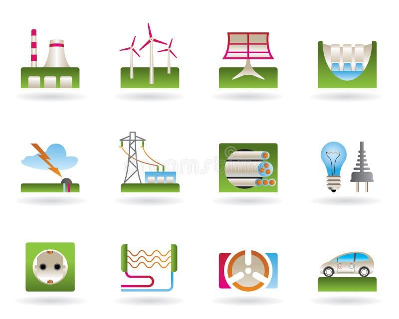 Centrais energéticas para a energia verde ilustração stock