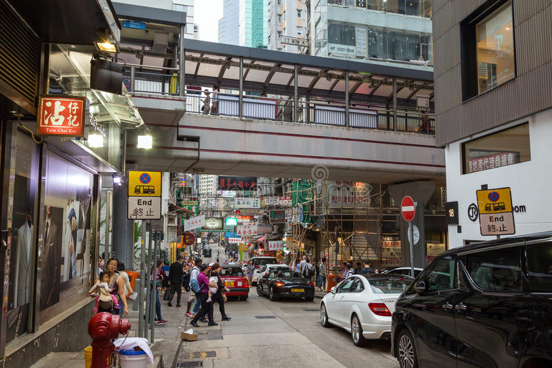 Central–Mid-Levels escalator in Hong Kong stock image