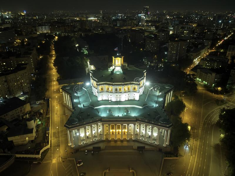 Central Academic Theatre of the Russian Army, Moscow, Russia. Night cityscape. Aerial view stock image
