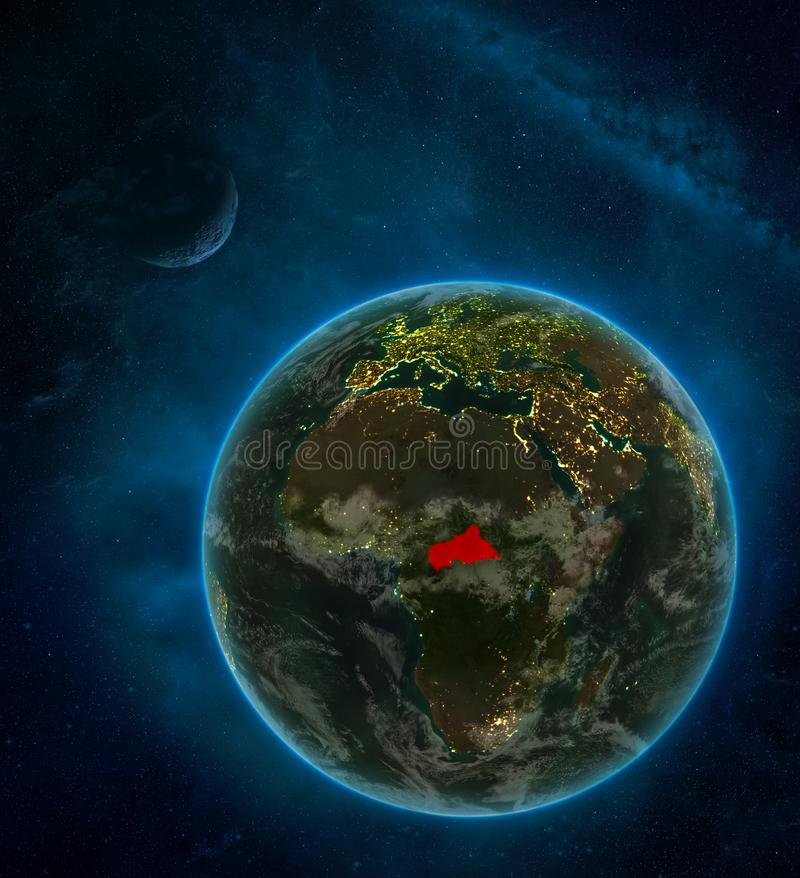 Central Africa from space on Earth at night surrounded by space with Moon and Milky Way. Detailed planet with city lights and. Clouds. 3D illustration. Elements royalty free illustration