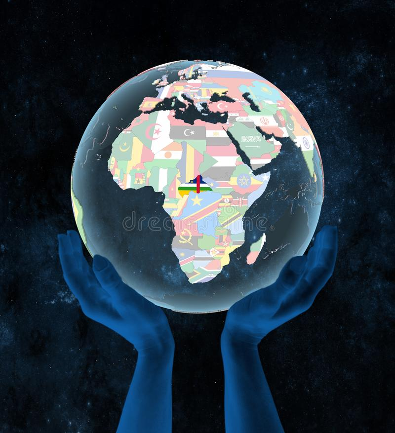 Central Africa on political globe in hands vector illustration