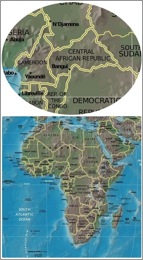 Central African Republic And Africa Map Stock Illustration