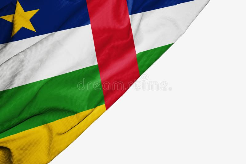 Central African Republic flag of fabric with copyspace for your text on white background. Banner best capital colorful competition country ensign free freedom royalty free illustration