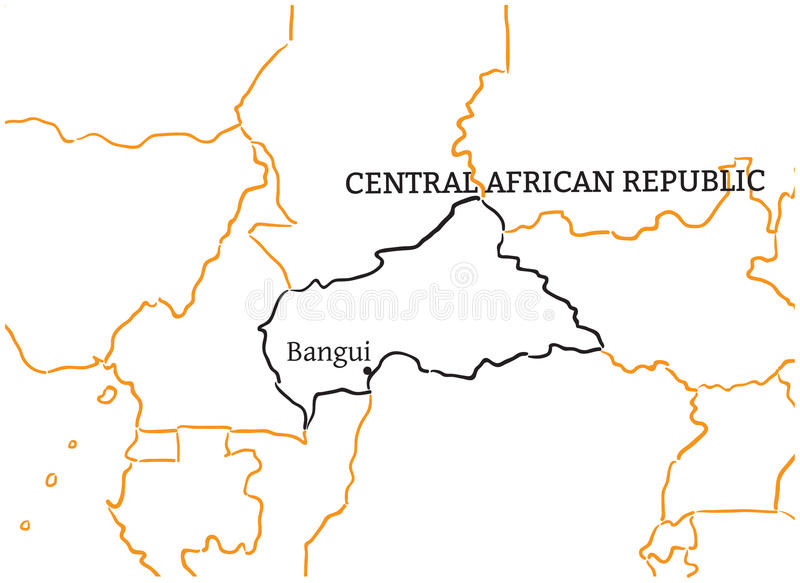 Central African Republic Handdrawn Sketch Map Stock Vector
