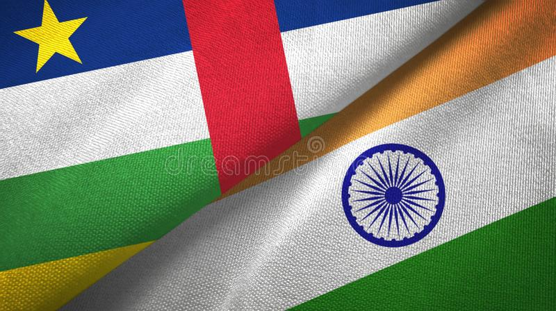 Central African Republic and India two flags textile cloth, fabric texture. Central African Republic and India flags together textile cloth, fabric texture royalty free stock image