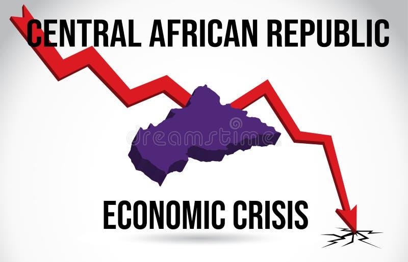 Central African Republic Map Financial Crisis Economic Collapse Market Crash Global Meltdown Vector. Illustration royalty free illustration