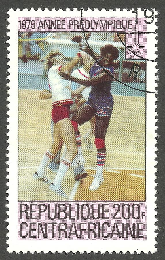 Basketball, The strongest wins. Central African Republic - stamp printed 1979, Multicolor Memorable issue, Topic Olympic Games, Series Pre-Olympic year stock photos