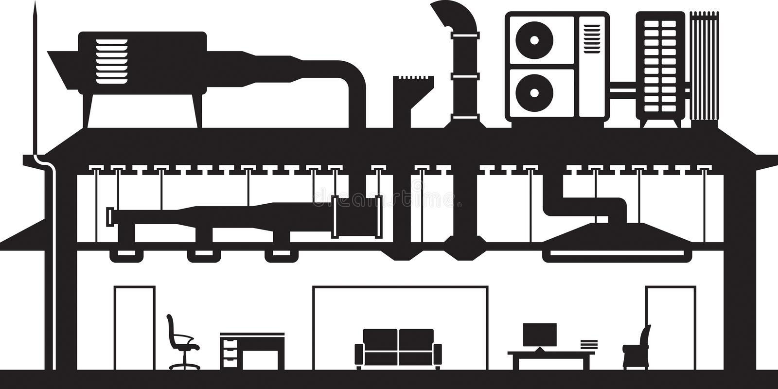Central air conditioning system for building. Vector illustration royalty free illustration