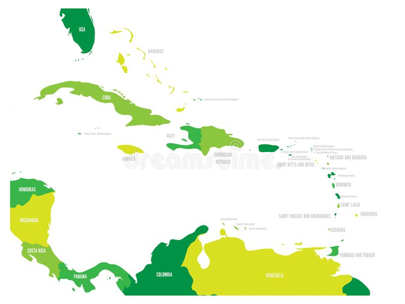 Central America and Caribbean states political map in four shades of green with black country names labels. Simple flat stock illustration