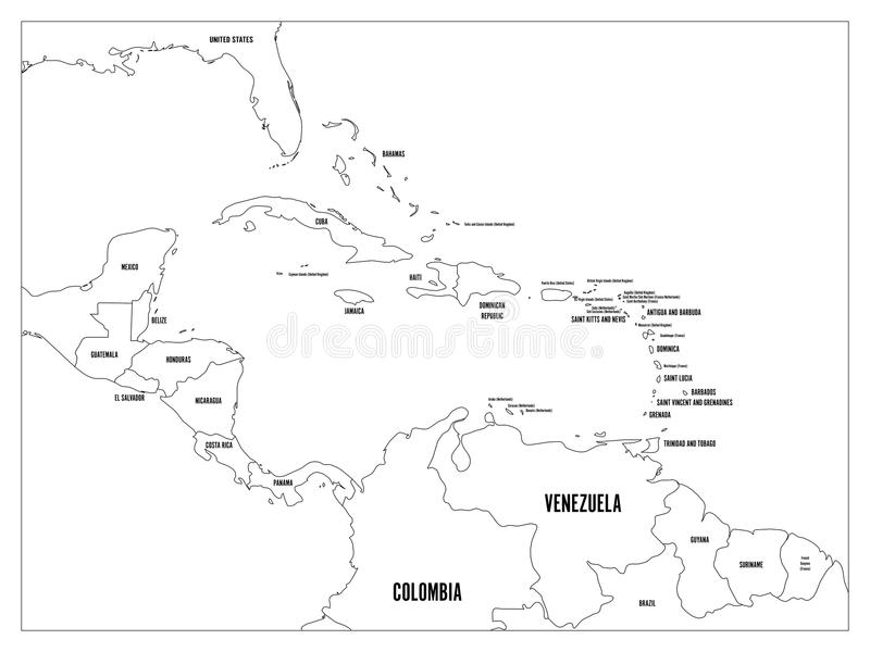 Central America and Carribean states political map. Black outline borders with black country names labels. Simple flat royalty free illustration