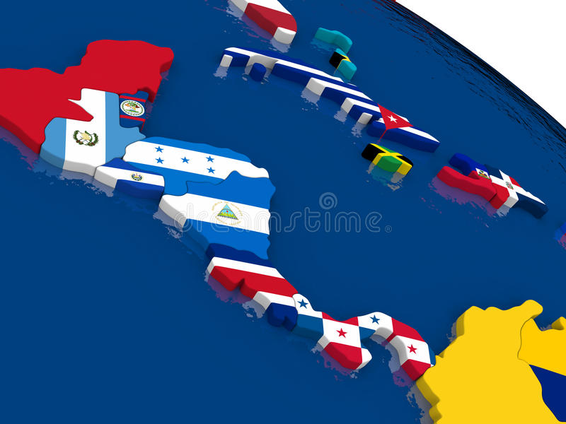Central America on 3D map with flags royalty free illustration