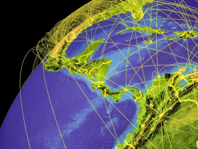 Central America on Earth with borders. Central America from space on Earth with lines representing international connections, communication, travel. 3D vector illustration