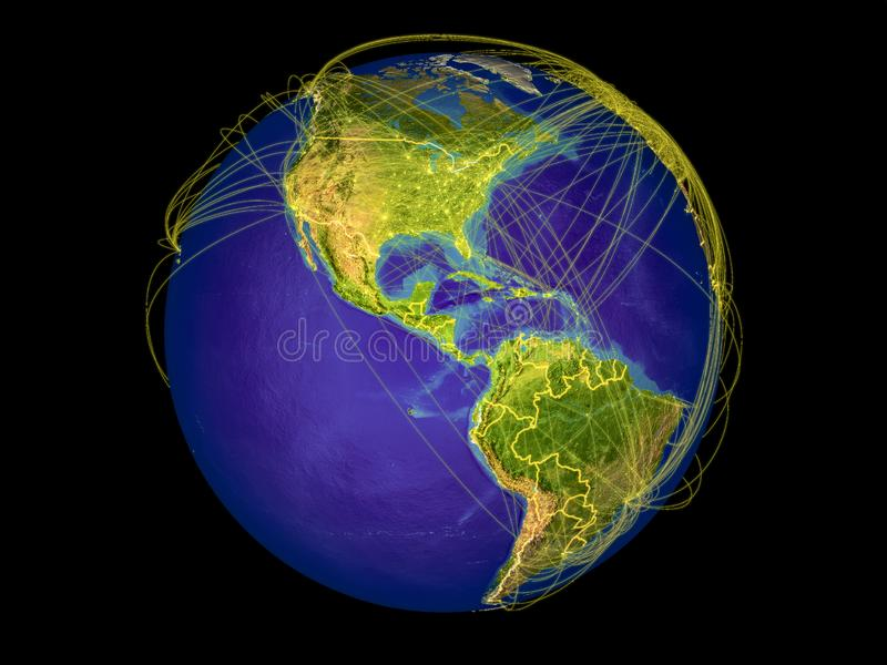 Central America on Earth from space. Central America from space on Earth with country borders and lines representing international communication, travel vector illustration