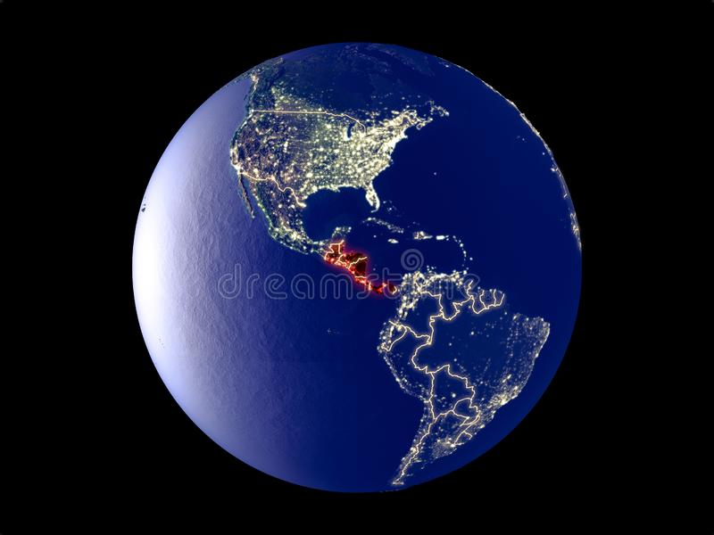 Central America on Earth from space. Central America from space on model of planet Earth with city lights. Very fine detail of the plastic planet surface and royalty free illustration