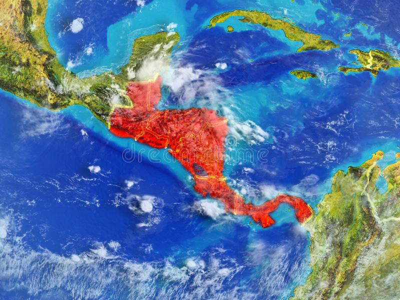 Central America on Earth from space. Central America from space on model of planet Earth with country borders. Extremely fine detail of planet surface and clouds vector illustration