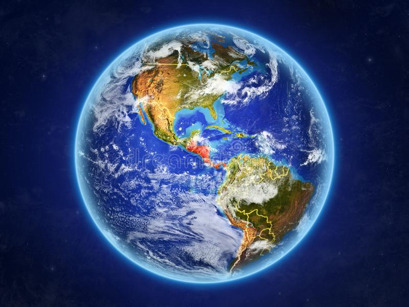 Central America on Earth from space. Central America from space. Planet Earth with country borders and extremely high detail of planet surface and clouds. 3D vector illustration