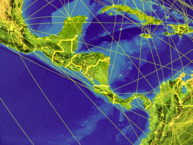 Central America on Earth. Central America from space on Earth with country borders and lines representing international communication, travel, connections. 3D royalty free illustration