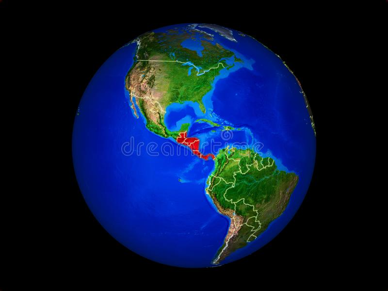 Central America on Earth from space. Central America on planet planet Earth with country borders. Extremely detailed planet surface. 3D illustration. Elements of royalty free illustration
