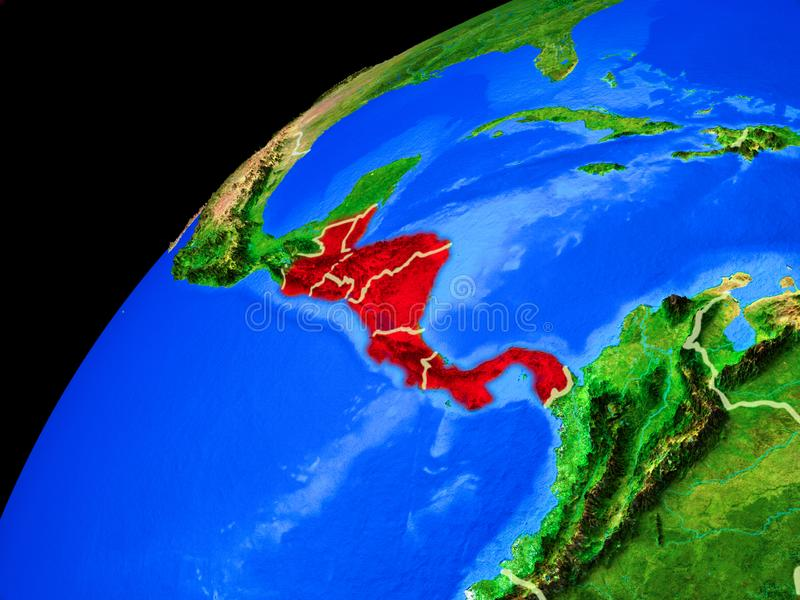Central America on Earth from space. Central America from space. Planet Earth with country borders and extremely high detail of planet surface. 3D illustration royalty free illustration