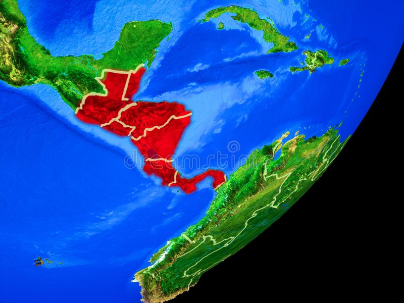 Central America on Earth from space. Central America on planet Earth with country borders and highly detailed planet surface. 3D illustration. Elements of this vector illustration